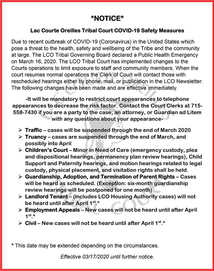 LCO Tribal Courts 3-17-2020 PUBLIC NOTICE Court Docket Change due to Virus