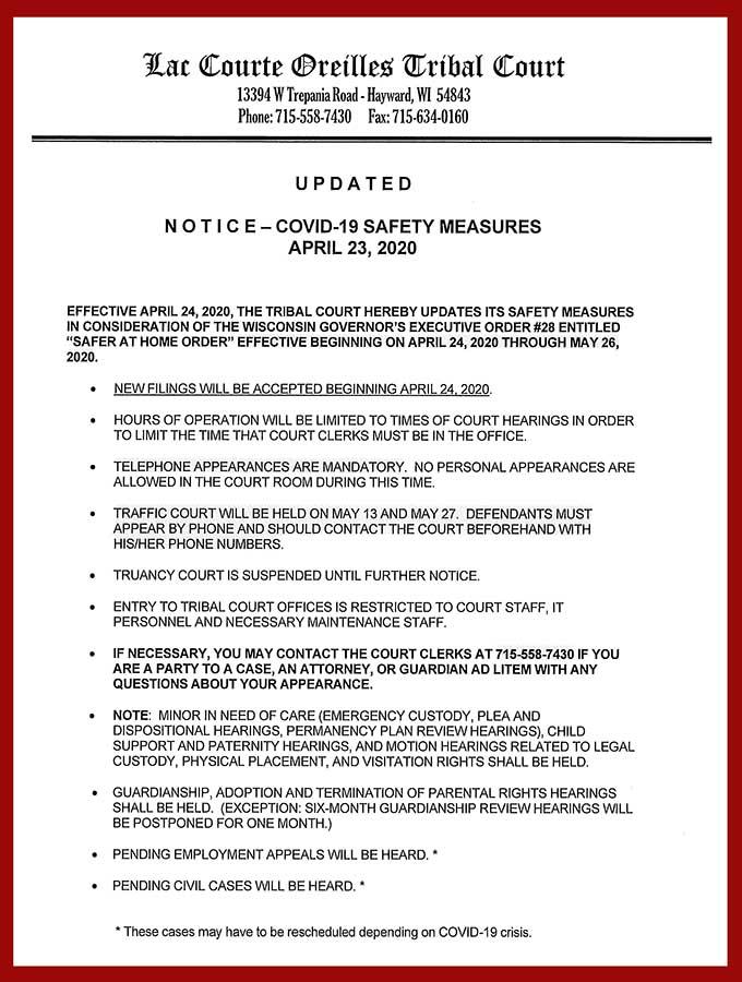 LCO Tribal Court COVID-19 Update 4-23-2020